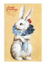 Easter Rabbit with a Fancy Flower Ruff (Easter Greeting Cards)