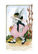 Girl Rabbit in a Pink Gingham Dress (Easter Greeting Cards)