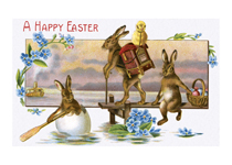Traveling Easter Rabbits (Easter Greeting Cards)