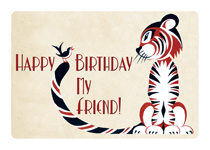 Tiger With Bird Friend (Birthday Greeting Cards)