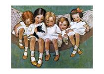 Little Girls In Hammock (Friendship Greeting Cards)