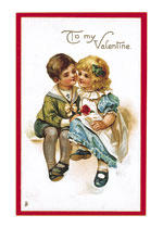 Little Boy and Girl with a Rose (Victorian Valentine's Day Greeting Cards)
