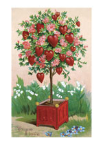 Hearts and Flowers on a Little Tree (Victorian Valentine's Day Art Prints)