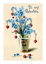 Vase of Hearts and For-get-me-nots (Victorian Valentine's Day Greeting Cards)