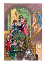 At the Costume Ball:  On the Staircase (Celebration Art Prints)