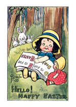 Girl Reading an Alphabet Book (Easter Greeting Cards)