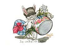 Rabbit Messenger with Hat Boxes (Easter Greeting Cards)