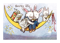 Rabbit Sweethearts On the Moon (Easter Greeting Cards)