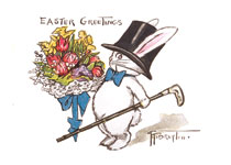 Rabbit in a Top Hat, with a Big Bouquet (Easter Greeting Cards)