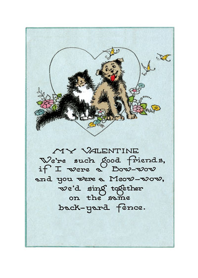 Dog and Cat Valentine (Classic Valentine's Day Greeting Cards)