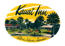 Kauai Inn Luggage Label (Americana Travel Art Prints)
