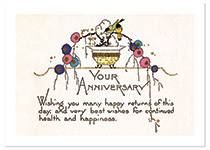 Elegant Birds and Flowers (Anniversary Greeting Cards)