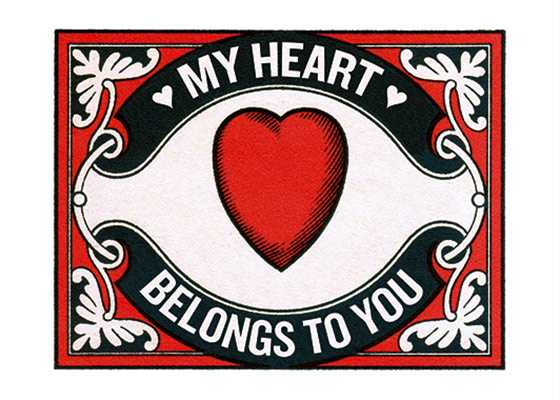 Heart Matchbox Label (Anniversary Greeting Cards)