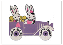 Bunnies on a Sunday Drive Easter (Easter Greeting Cards)