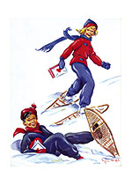 Snowshoe Valentine Delivery (Magazine Art Valentine's Day Greeting Cards)