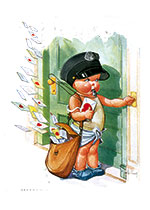 A Chubby Young Postman (Magazine Art Valentine's Day Greeting Cards)