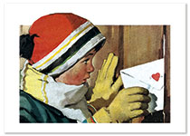 Slipping a Valentine through a Fence (Magazine Art Valentine's Day Greeting Cards)