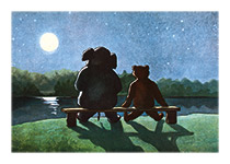 Friends Enjoying the Moon (Friendship Greeting Cards)