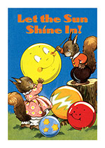 Squirrel Painting a Sunny Balloon (Encouragement Art Prints)