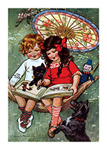 Children and Animals Reading (Books and Readers Greeting Cards)
