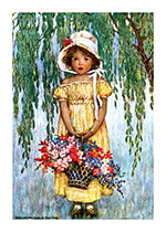 Little Girl Holding a Basket of Flowers