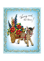 Donkey and Cart of Flowers (Get Well Greeting Cards)