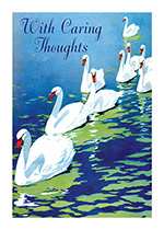 Swans on Green Water (Sympathy Greeting Cards)