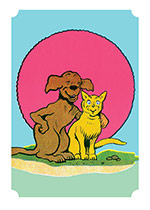 Dog and Cat in front of a Red Sun (Animal Friends Art Prints)