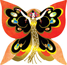 Butterfly Lady (Art Deco Ladies Art Prints)