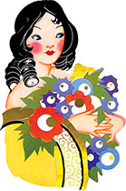 Lady With Ringlets and Flowers (Art Deco Ladies Art Prints)