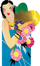 Flapper With Bracelet and Flowers (Art Deco Ladies Art Prints)
