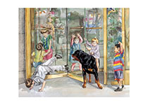 Carl & Kids in Door (Good Dog, Carl Greeting Cards)