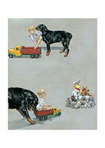 Carl & Toy Wagon (Good Dog, Carl Greeting Cards)