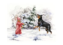 Carl Carl Catching Snowball (Signed) (Good Dog, Carl Art Prints)