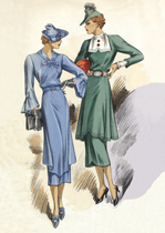 30s Fashion Two Dresses (1930s Fashion Fashion Art Prints)