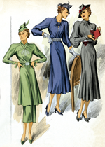 30s Fashion Three Dresses