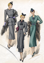 30s Fashion Sea-Colored Dresses (Art Deco Fashion Greeting Cards)
