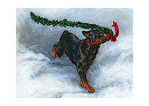 Carl Running with Christmas Greenery (Signed) (Good Dog, Carl Art Prints)