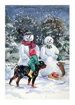 Carl and Madeleine With the Snowmen (Signed) (Good Dog, Carl Art Prints)