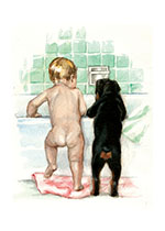 Puppy Carl at the Bathtub (Signed) (Good Dog, Carl Art Prints)