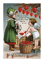 Cupid Selling Hearts to a Girl in Green (Victorian Valentine's Day Greeting Cards)