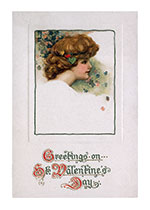 A Lady's Head with Valentine Greetings (Victorian Valentine's Day Art Prints)