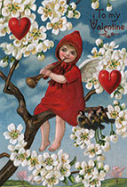 A Red-Clad Angel Blowing a Horn (Victorian Valentine's Day Greeting Cards)