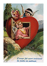 An Angel at a Window in a Heart (Victorian Valentine's Day Art Prints)