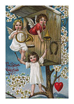 Three Angels Blowing Valentine Horns (Victorian Valentine's Day Art Prints)