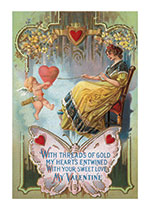 Lady Spinning a Thread of Love (Victorian Valentine's Day Greeting Cards)
