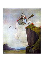 Witch Taking Flight (Ida R. Outhwaite Fairies Greeting Cards)