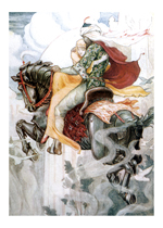 A Prince and Princess on a Flying Horse (Romantic Art Prints)