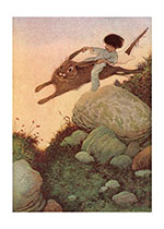 A Boy Riding A Rabbit (Boys Children Art Prints)