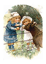 Girls Feeding Donkey (Girls Children Art Prints)